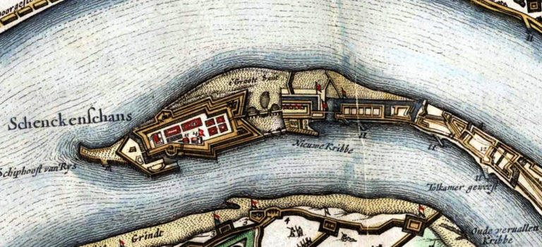 The Schenkenschans situated between the Waal and the Rhine on a map with the situation around 1635 made by J.J. Schot, 1649, Atlas van Loon.